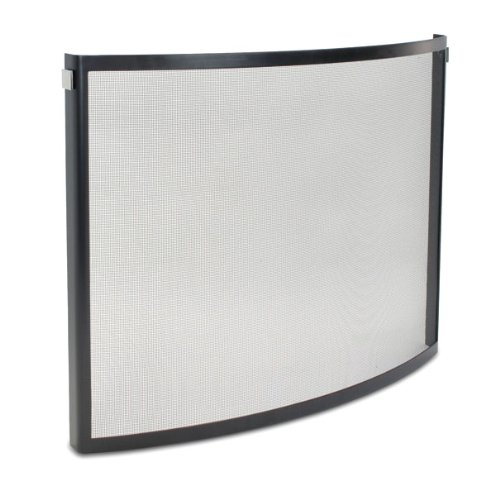 Pilgrim Home and Hearth 18256 Odessa Bowed Fireplace Screen, Black and Polished Nickel, 39″W x 31″H 23 lbs,