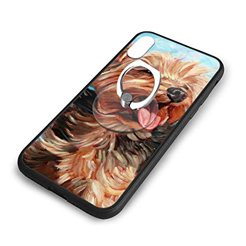 iPhone X Plus Cover Yorkshire Terrier Case with Finger Ring Stand XS Phone Kickstand Holder Shock Protective Basic Protector]()