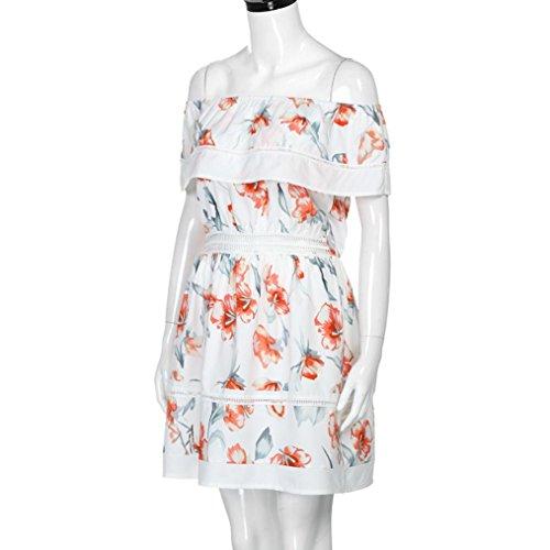 Off Beige Sundress Ladies Printed Short Women Sleeve Dress Butterfly Kanpola Shoulder Elegant Lotus leaf Dress 6qSZHIwC