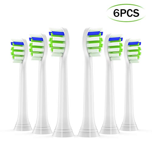 Replacement Brush Heads Compatible with Phillips Sonicare DiamondClean, Xiaojiejie Dust-free Hygiene Electric Toothbrush Head Pack 6 Independent Packaging