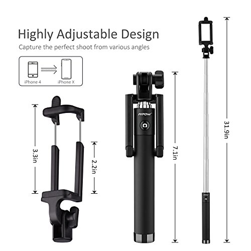 Mpow Selfie Stick Bluetooth, iSnap X Extendable Monopod Built-in Bluetooth Remote Shutter Compatible with iPhone XS/XS max/XR/X/8/8P/7/7P/6s/6/5,Galaxy S9/8/7/6/Note,Nubia,Huawei and More(Black)