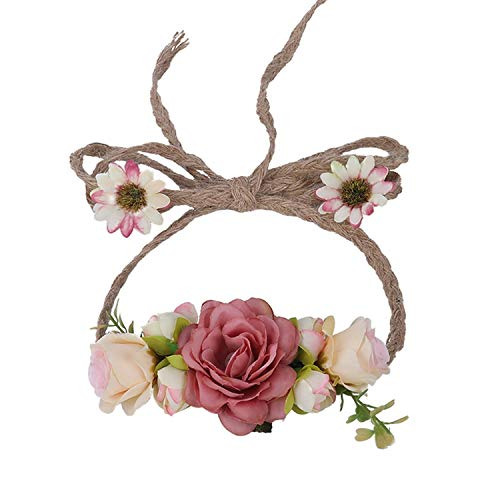 - Bride Bohemian Flower Headband Party Floral Crown Headwear for Women Floral Garlands Adjustable Wedding Hair Wreaths,D