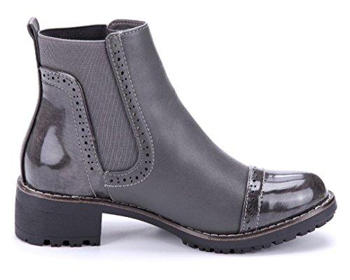 487fd0c81a5e ... Schuhtempel24 Damen Schuhe Klassische Stiefeletten Stiefel Boots  Blockabsatz Used Look Schlupf 4 cm Grau ...