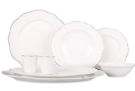 Bavary - Vajilla de 28 piezas de porcelana blanca para 6 ...