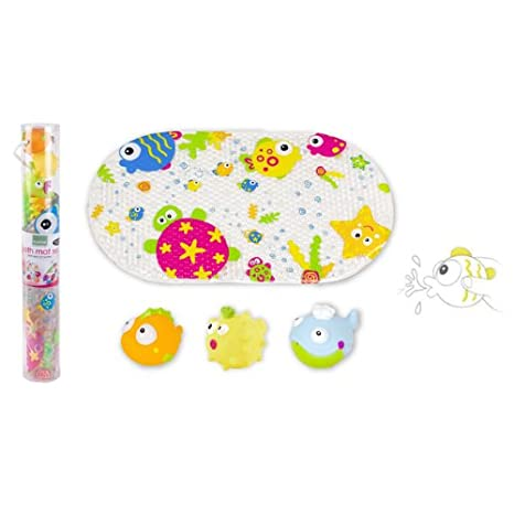 Kushies Baby Bath Mat and Squirter Set, 4-Piece, Jungle EZ1508