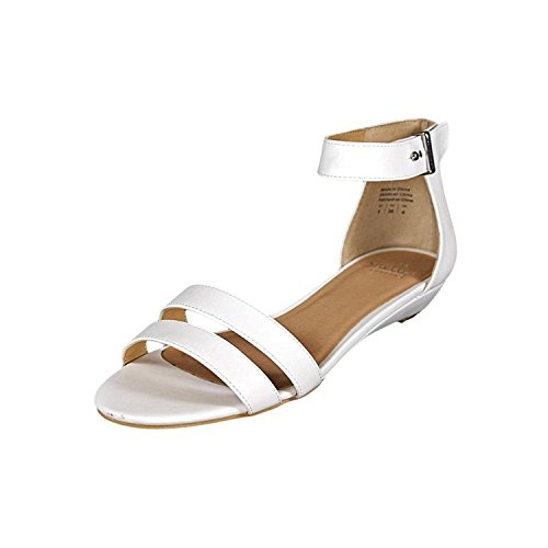 Shellys London Womens Olaedia Open Toe Casual Ankle Strap Sandals, 70 White, 8.0 (Ankle Clog Strap Womens Casual)