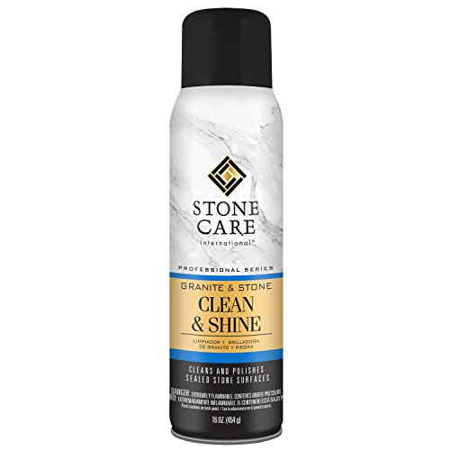 Stone Care International Granite and Stone Cleaner and Polish - 16 Ounce - Shine Aerosol for Granite Marble Soapstone Quartz Quartzite Slate Limestone Corian Laminate Tile Countertop