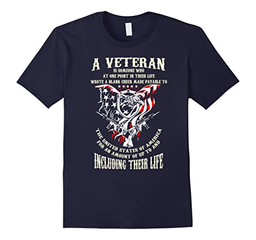 Men's Custom Quoted Sacrifice US Veteran Gift T Shirt  Large Navy