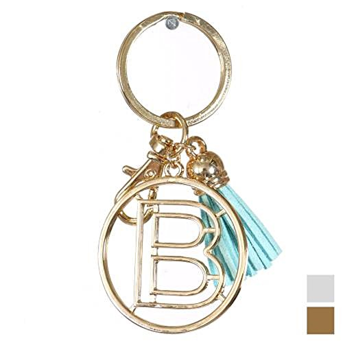 Knitting Factory Personalized Monogrammed Alphabet Initial Letter Keychain, Key Ring, Bag Charm w/ Tassel (B-Gold)