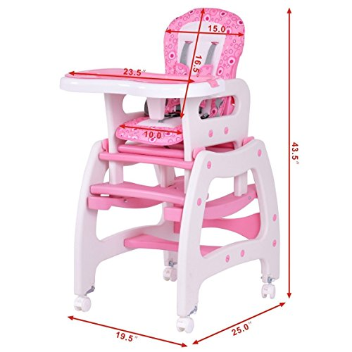 Costzon 3 in 1 Infant High Chair Convertible Play Table Seat Booster with Feeding Tray (Pink) by Costzon (Image #6)