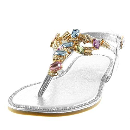 Fantaisie CM Angkorly Lanière 5 Cheville Sandale Mode 1 Salomés Chaussure Bloc Argent Bijoux Diamant Strass Femme Talon Tong PqAwRS