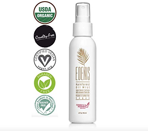 EDENIS Certified Organic Rainforest Dry Oil Hair Mist for Protection & Shine | Lightweight Non-Greasy Formula Heat Protector Damage with All Natural Amazon Oil Protect & Detangle Hair Spray - 4 fl oz