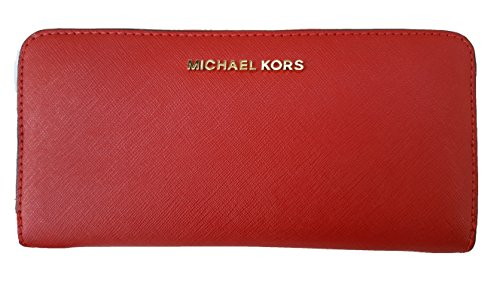 MICHAEL Michael Kors Jet Set Travel Zip Around Continental Saffiano Leather Wallet (One Size, Red (9154) / Gold/Red) by Michael Kors