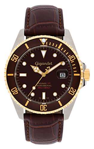 Gigandet Men's Automatic Diver Watch Sea Ground Analog Stainless Steel Leather 30atm Brown Gold G2-019