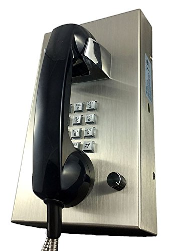 Cortelco Stainless Steel Phone with Armored Cord