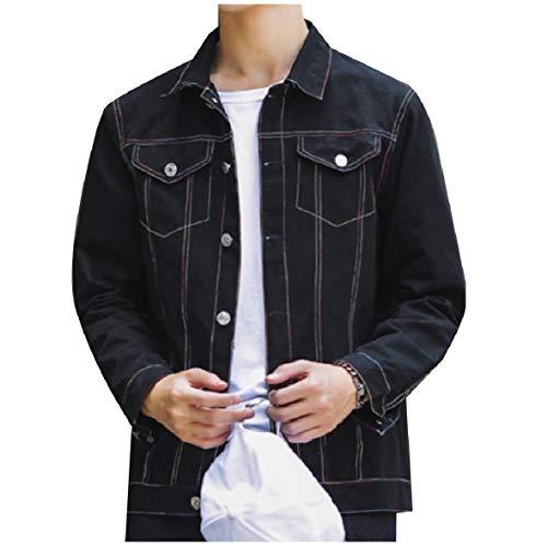 XINHEO Men Plus Size Button Turn-Down Collar Jean Jacket Short Denim Coat Black