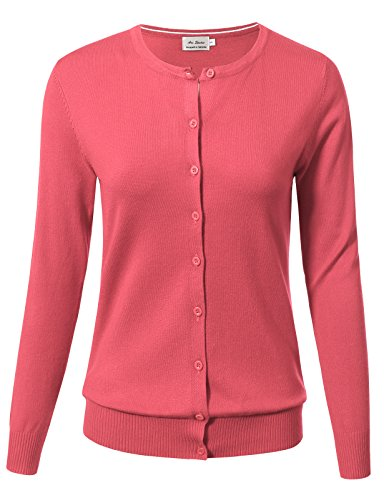 Coral Cardigan Sweater (Women Button Down Long Sleeve Crewneck Soft Knit Cardigan Sweater 1XL Coral)