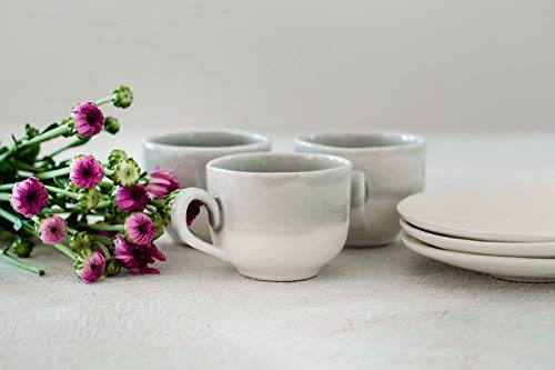 Gray and White Glazed Handmade Natural Clay Ceramic Cup and Saucer Set of 4, Modern Design, Dishwasher Safe, Artisan Pottery Housewarming Gift Idea, 10.5 Oz