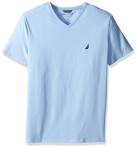 Nautica Men's Short Sleeve Solid Slim Fit V-Neck T-Shirt, Noon Blue, -