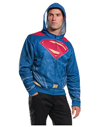 Rubie's Men's Batman v Superman: Dawn of Justice Superman Costume Hoodie, Multi, (Adult Batman Costumes Hoodie)