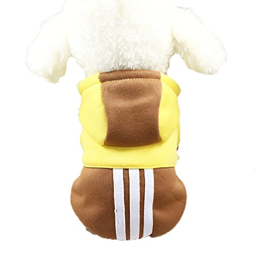 - Mummumi Small Pet Dog Winter Clothes, Puppy Warm Autumn Sportswear Hoodies Outwear Cat Windproof Sweater T-shirt With a Hat For Small Dog Chihuahua,Yorkshire, Terrier, Poodle (S, Brown + Yellow)
