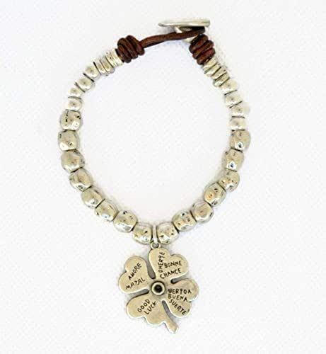 Pulsera cuentas zamak plata y cuero para mujer, brazalete trébol de cuatro hojas