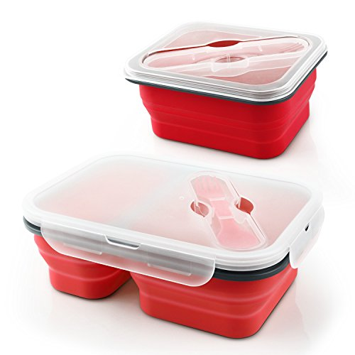 Miusco Collapsible Food Container Lunch Box 2 Pieces Set Red