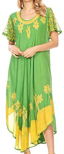 - Sakkas A009 Batik Palm Tree Cap Sleeve Caftan Dress/Cover Up - Avocado - OS
