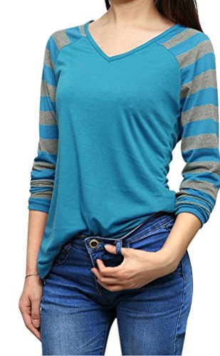 YiLianDa Casual Mujer Camisetas Manga Larga Básico Ropa Moda Cuello Redondo Slim Fit Azul