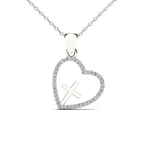 JewelAngel 10k White Gold 1/8ct TDW Diamond Heart and Cross Pendant Necklace (H-I, I1-I2)
