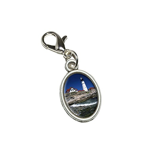 Lighthouse Clasp - Graphics and More Maine Lighthouse - Portland Head Antiqued Bracelet Pendant Zipper Pull Oval Charm with Lobster Clasp