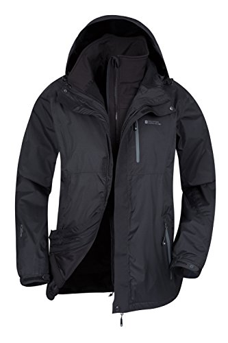 Mountain Warehouse Bracken Extreme 3In1 Mens Jacket  Durable Raincoat Black Large