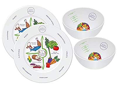 2 in 1 Porcelain Portion Perfection Bowl and Plate Set (2 Bowls & 2 Plates) Helps Control Your Diet Calorie Intake Weight Loss Giving You The Perfect Portion.