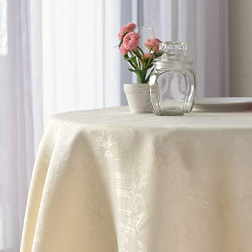 Stain Resistant Ivory Round Tablecloth Polyester Table Cover - Rectangular, Square, Round, Washes Easily Non Iron - Thanksgiving Christmas New Year Eve Dinner Wedding (PEARLED ivory, Round 60