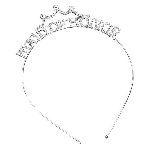 Bachelorette Party Tiara Head Band Silver and Clear Rhinestone (Maid of Honor)