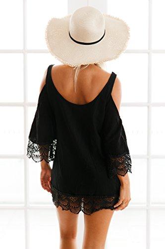 Nero da donna in cotone pizzo all' uncinetto & Cold spalla tunica cover Up Beach Wear Caftano taglia M UK 10–12EU 38–40