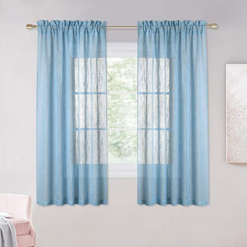 NICETOWN Privacy Linen Semi-Sheer Curtain - Rod Pocket Design Soft Thick and Soft Sheer Window Treatment for Living Room/Bedroom/Girl's Room (Pack of 2, 72