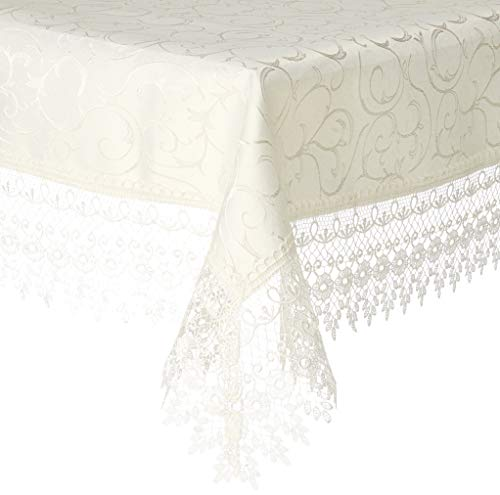HomeCrate Flower Bow Vintage Lace Design tablecloths, 60