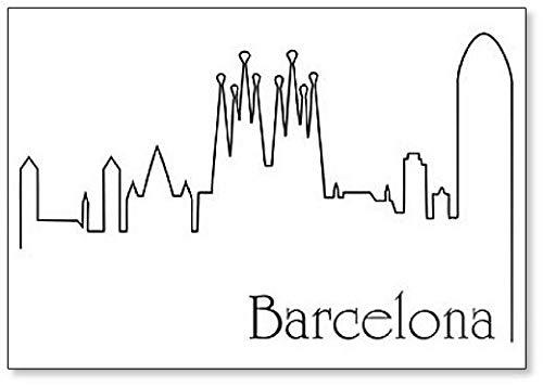Barcelona City Skyline Drawing Classic imán para nevera: Amazon.es ...