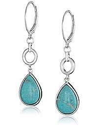 Sterling Silver Pear Genuine Stabilized Turquoise Leverback Drop Earrings