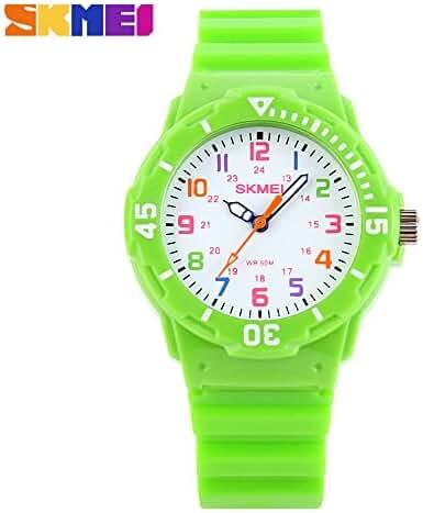 Children Waterproof Jelly Sports Quartz Watch Green