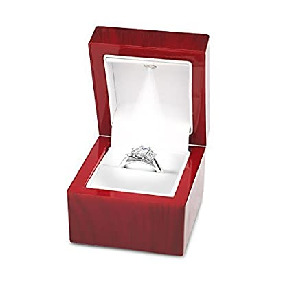 5539236f4 Amazon.com: Noble Cherry Light LED Single Ring Jewelry Box Deluxe for  Engagement, Proposal or Special Occasions with White Insert,: Home & Kitchen
