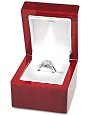Noble Cherry Wood Light LED Single Ring Jewelry Box Deluxe for Engagement Proposal or Special Occasions with White Insert