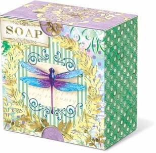 (Punch Studio Everyday Pleat-Wrapped Boxed Soaps - Dragonfly Stripes)