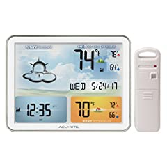 Plan your day with confidence. The AcuRite color weather forecaster with jumbo display, remote sensor, and atomic clock delivers reliable ambient weather conditions, a weather forecast, plus ultra-accurate atomic clock technology. It's all sh...