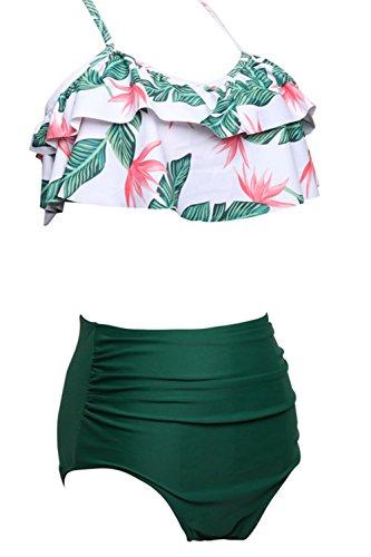 Halter a Plus donna bagno alta AMAGGIGO a Push Size pezzi 2 up da per FBA Costume Bikini da Vintage Costume Verde donna bagno vita qn6w68OH0