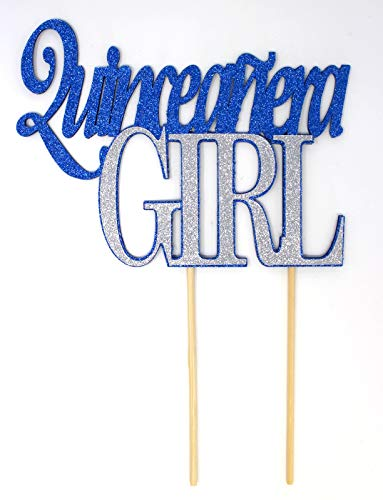 All About Details Quinceanera Girl Cake Topper, 1pc, 15th birthday, quince (Blue & Silver)