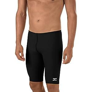 Speedo Men's Endurance+ Solid Jammer Swimsuit, Black, 30