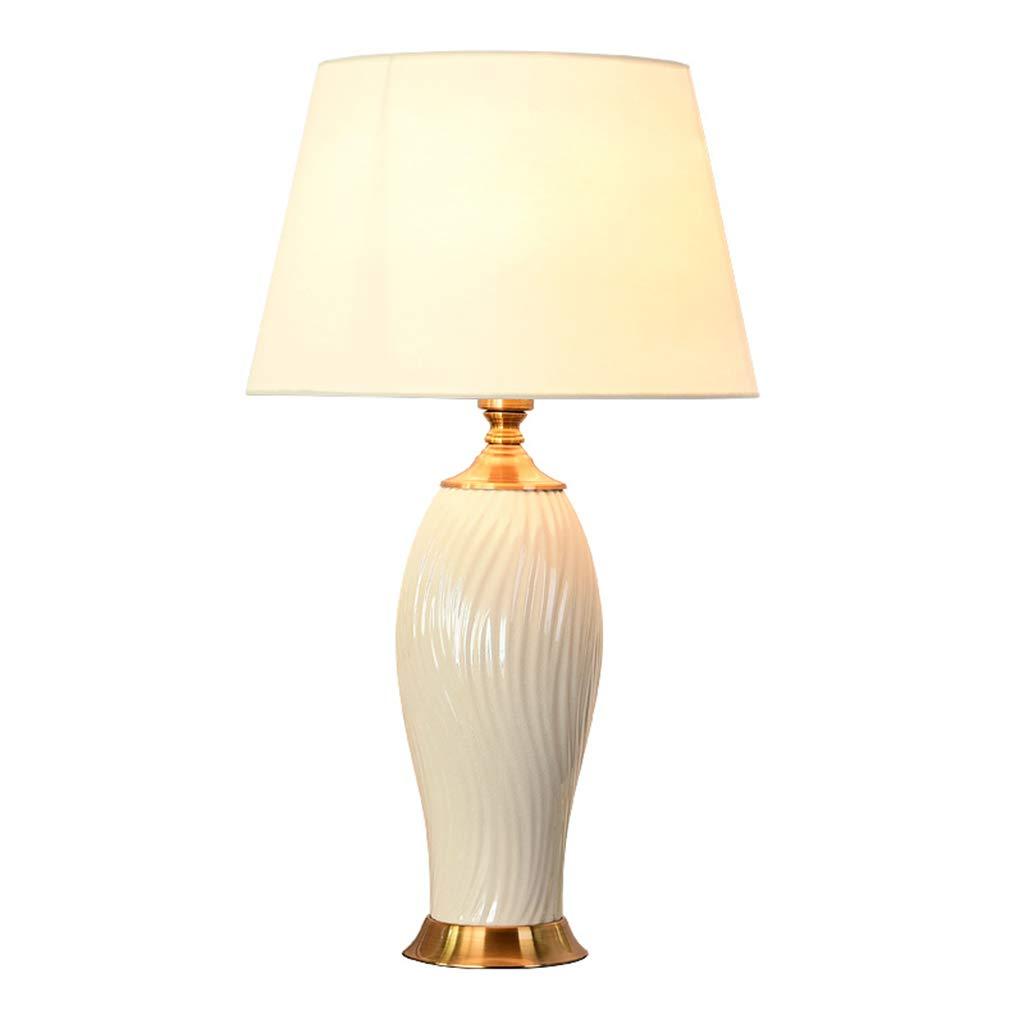 XZGang Weiße Keramik Tischlampe, Schlafzimmer Wohnzimmer Tischlampe Esszimmer Studie Tischlampe Nachttisch Lampe E27 Zuhause (größe : 35 * 60CM)