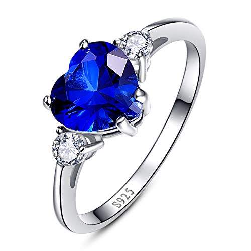 BONLAVIE Clear Cubic Zirconia CZ Rings Heart Created Blue Sapphire Pure 925 Sterling Silver Size 10